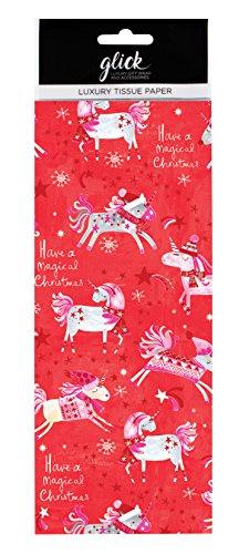 Kerst Eenhoorn 'Hebben een magische Kerstmis' eenhoorns op rood Gedrukt Patroon Weefsel Inpakpapier luxe 4 vellen 50 x 75cm