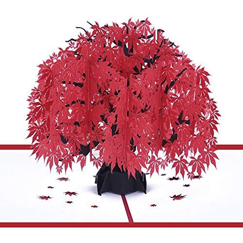 AXROAD MALL Feuille d'érable Rouge Pop Up Card Carte-Cadeau Fait Main 3D pour la Saint-Valentin, Anniversaire, Joyeux Noël, Anniversaire, Mariage, Merci, Carte de voeux
