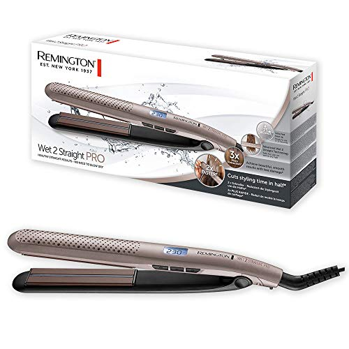 Remington Wet2Straight Pro S7970 - Plancha de Pelo, Tecnología Wet2Straight, Cabello Húmedo y Seco, Cerámica, Digital, Marrón