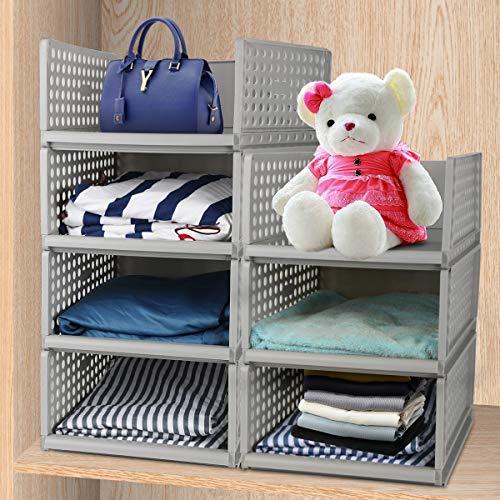 Hossejoy - Paquete de 4 organizadores de plástico apilables y desmontables, cestas divisoras para ropa, para aparadores, armario, dormitorio, color gris