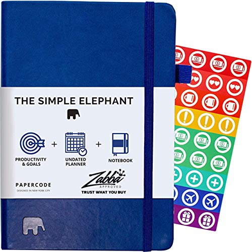 Simple Elephant Planner 2020 - Daily, Weekly, Monthly Agenda - Undated Productivity Journal - Gratitude, Life & Goal, Success (Blue (Undated))