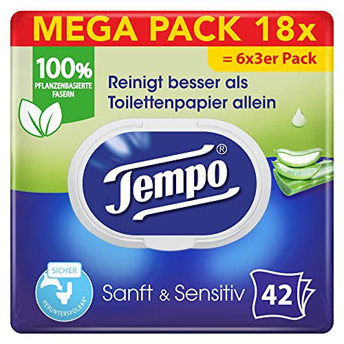 Tempo Toilettenpapier feucht Tempo feuchtes Toilettenpapier sanftundsensitiv Trio-Pack (18 Packungen x je 42 Blatt), Großpackung, 1 kg