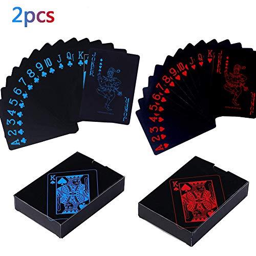 BETOY Spielkarten 2PCS wasserdichte Poker Karten Kunststoff Pokerkarten Black Spielkarten Spiele Kinder & Erwachsene Familienparty Spiel Playing Cards (Blau & Rot)
