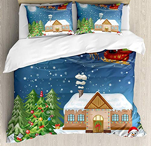 Christmas Duvet Cover Set Small Double Size, Classical Xmas Scenery Santa Delivering Presents with Rudolf The Red Nosed Reindeer Theme, A Decorative 3 Piece Bedding Set with 2 Pillow Shams, Multi