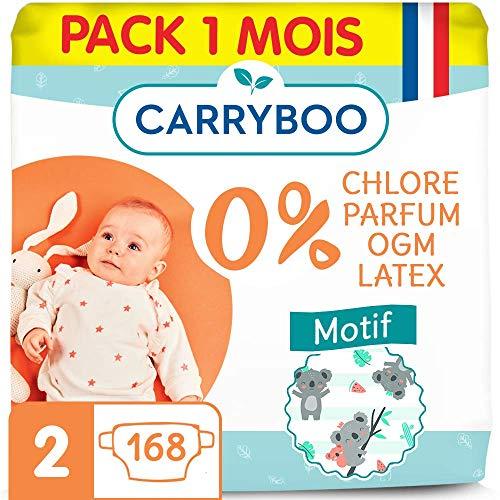 Carryboo - 168 Couches Nourrisson Ecologiques Taille 2 (3-6 kg) - Témoin d'Humidité, Hypoallergéniques, Sans Parfum - Fabriquées en France - Pack 1 mois