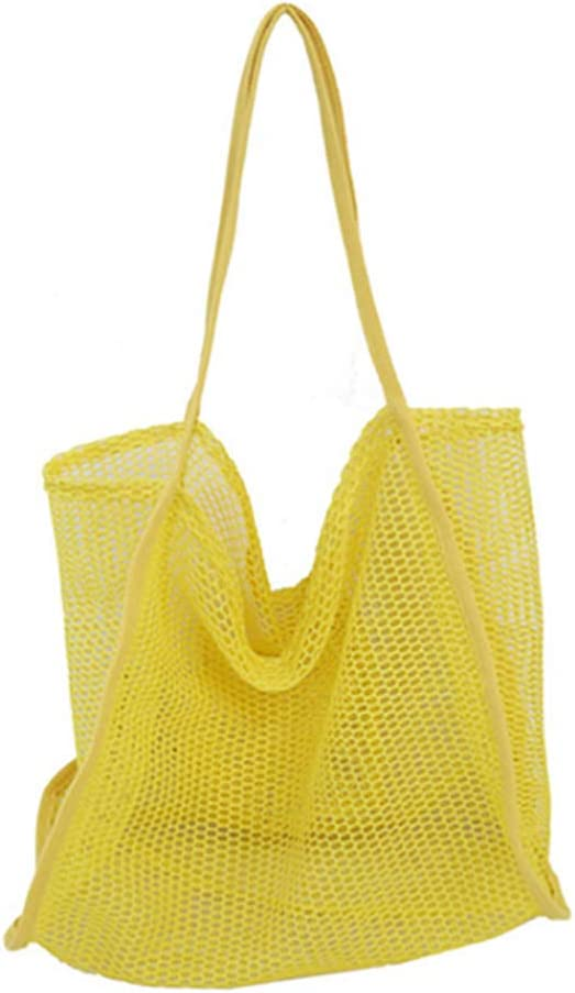 Enkrio Large Mesh Beach Casual Shoulder Bag Mesh Tote Bag Handbag for Students Teens Heavy Duty, Lightweight Foldable (Yellow)