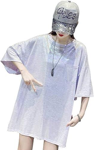 S&RL T-Shirt à Manches Courtes Lache Brillant Femme Chemise de Personnalité Adulte été Grandi, Violet, XL