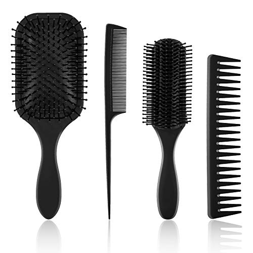 Cepillo de Pelo 4 Piezas Juego de Peine y Cepillo Incluye Cepillo de Pelo de Paleta, Peine de Dientes Anchos, Peine de Cola y Cepillo de Peinado para Mujer Pelo Húmedo Seco Rizado Liso Negro