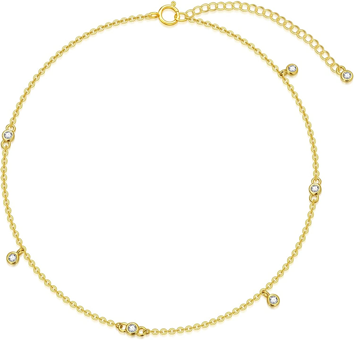 10K 14K Solid Gold Chain Anklet for Women, Real Gold Tiny 2 mm Cubic Zirconia Ankle Bracelets Jewelry Gift for Her, 8+2 Inch