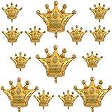 14PCS Crown Balloons Gold Foil Crown Balloon...