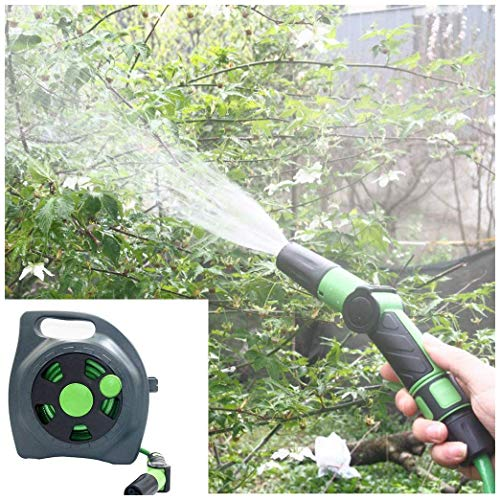 MANRS Garden Hose, Watering Hose,Rotatable Flat Hose Spray Nozzle with Stand for Watering Hobby Gardening Watering Hose (Size: 10 Meters) Color (Green)