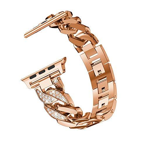 Hspcam Pulsera de mujer para Apple Watch Band Series 6 SE 5 4 3 de moda con diamantes de imitación de 40 mm/44 mm/42/38 mm correa de metal (para 40 mm, oro rosa)