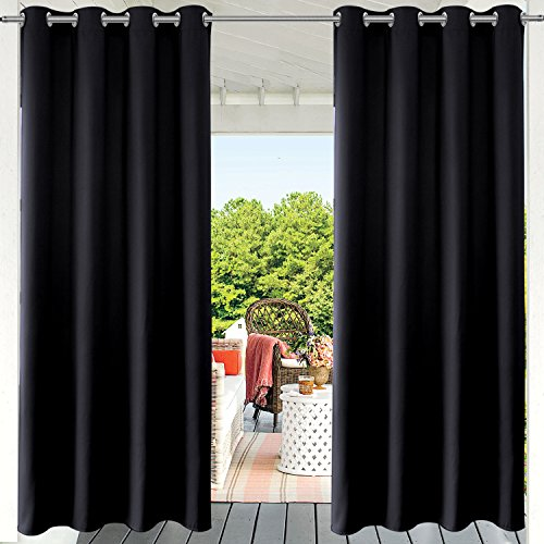 PRAVIVE Blackout Outdoor Curtain Drapes - Indoor/Outdoor Grommet Patio Blinds Waterproof Solid Cabana/Canvas Window Curtain Panels, Black, 52' W by 95' L, 1 Piece