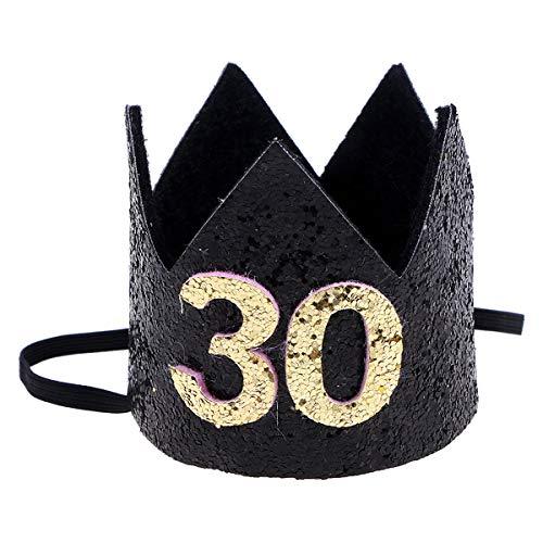 Amosfun Corona del Cumpleaños de 30 Años Sombrero Disfraz de Cumpleaños para Adultos