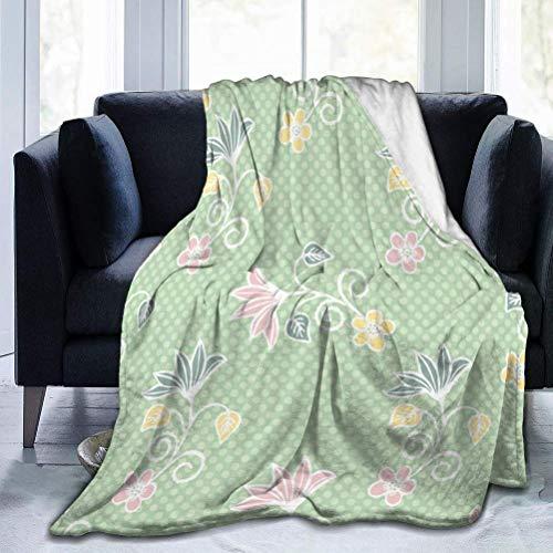 AEMAPE 50er Jahre Stil Blumen Tupfen Nahtlose Decke Decke Weiche warme Decke für Bett Bettwäsche Sofa Büro Wohnzimmer