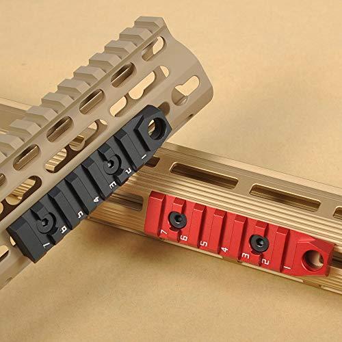 TuFok M-lok Picatinny Rail Aluminum - M lok Picatinny Rail Section, Rifle Rail Mount Adapter with 3/8' QD Sling Swivel Socket(for Two Point Sling)(7-Slot,Black)
