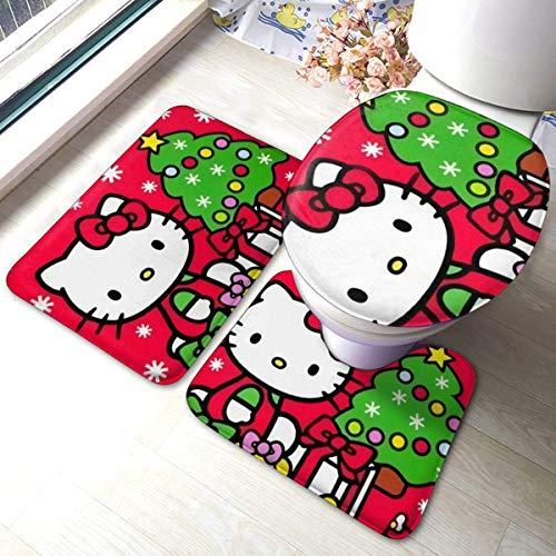 BOBO-Shop Alfombra de Baño Antideslizante de 3 Piezas Hello Kitty Feliz Navidad...