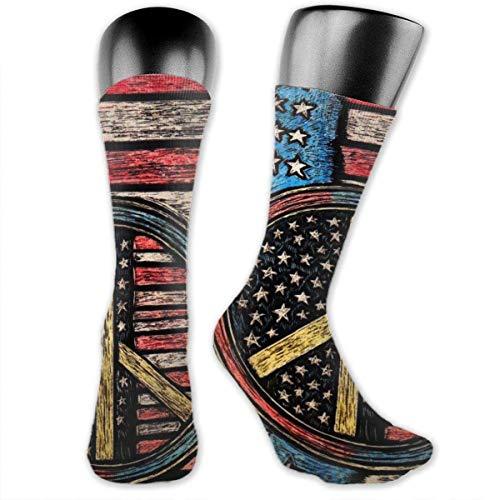 AOOEDM Calcetines de pantalón de vestir coloridos y divertidos para hombre, calcetines de bota de arte con pintura de signo de la paz vintage para hombres, calcetines altos sin costuras de la mejor m
