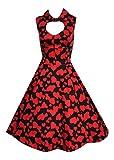 Hearts & Roses Vestido Rockabilly de los años 50, Estilo Vintage, con Estampado de corazón, Color Negro y Rojo