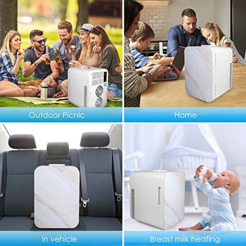 10 Liter Fridge, Compact Portable Cooler Warmer Personal Fridge Beauty Fridge Outdoor 12V 110V Car Refrigerator Cooler or Indoor for Bedroom, Office or Dorm