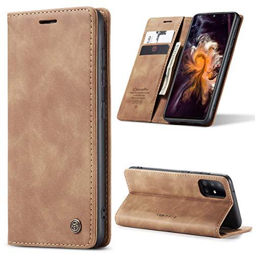 yanzi Hülle Samsung Galaxy A31 Handyhülle Flip Hülle Schutzhülle Samsung Galaxy A31 Premium Leder Tasche Braun Wallet Lederhülle Bumper Silikon Samsung A31 Hülle