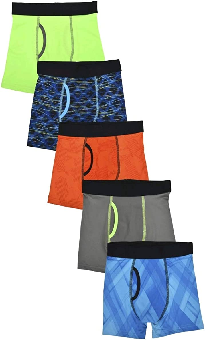 Boy's Lime Assorted DriWorks 5 Pack Performance Boxer Briefs