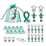 Juego de 20 llaveros de ángel, con bolsa de regalo de organza y etiquetas navideñas, ángel y metal en forma de estrella, para Navidad, baby shower, boda, cumpleaños, color verde