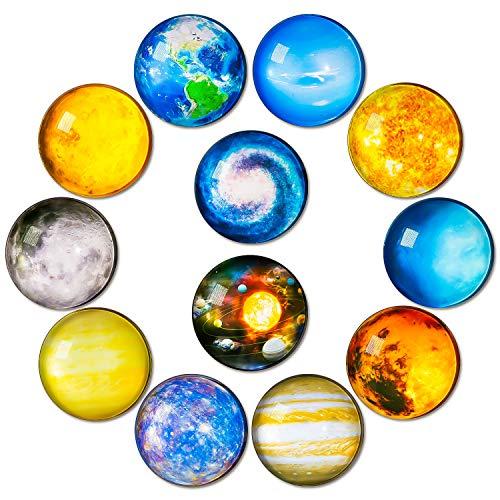 simpletome Imanes Nevera Pizarra Magnetica imanes de Frigorífico imanes de Vidrio 12 Piezas 3D Luminoso para refrigeradores pizarras Blancas gabinetes de Oficina (Serie de Planetas del Sistema Solar)