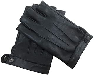 Men's Fingerless Half Fingers Faux Leather Glove Touchscreen Texting Driving Motor