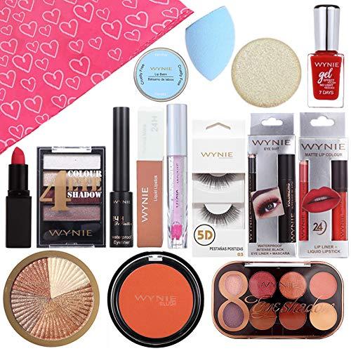 WYNIE Pack Maquillaje Rostro con 15 sorpresas para San Valentin que incluye Accesorios de Belleza y Cosmética