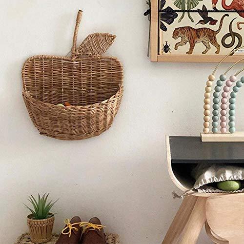 Cesta de pared de ratán, cesta de almacenamiento hecha a mano, organizador, soporte para flores, decoración de pared, para habitación de bebé, habitación de los niños, 26 cm x 29 cm x 9 cm