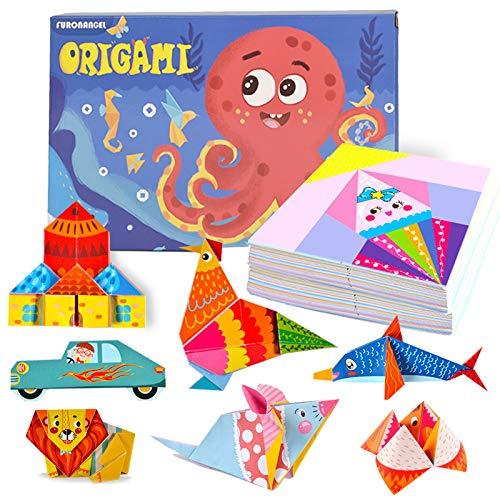Geoyien Kit de Origami para niños, Doble cara libro y papel de origami papel de origami de colores con 72 patrones papel para manualidades de origami para principiantes en manualidades, (152 hojas)