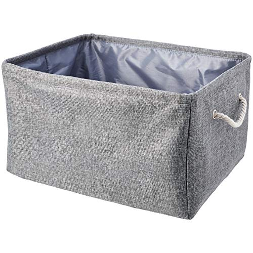 Amazon Basics Fabric Storage Basket Container with Handles and Drawstring Large
