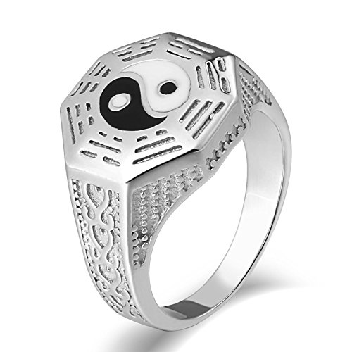 AYDOME Statement Ring Men, Cz Ring Mens Stainless Steel 15mm Polished Yin Yang Totem Silver N 1/2