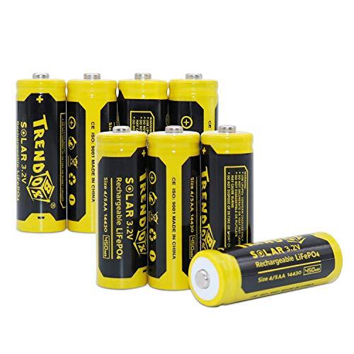 Trendbox 14430 3.2V 450mAh Battery LiFePo4 Rechargeable Solar Batteries for Outdoor Garden Light 8 Pack