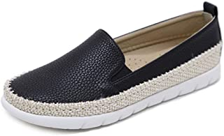 Women's Casual Shoes Loafers & Slip-Ons PU Hemp Rope Round Head Deck Shoes Athletic Shoes Black Beige,Black,39