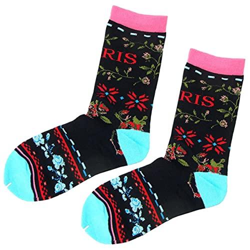 Paris Flowers Robin Ruth - Calcetines para mujer, color negro y rosa