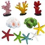 Tangger 10 Stk Multicolor Decoraciones de Paisajes de Peceras Pequeño,Decoración del Acuario Estrella de Mar Artificial y Coral Artificial,Decoración de Estilo Mediterráneo