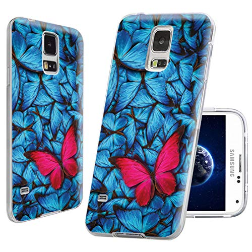 S5 Case, Samsung S5 Case,Galaxy S5 Case , ChiChiC full Protective unique Case slim durable Soft TPU Cases Cover for Samsung Galaxy S5 I9600 SM-G900A SM-G900T SM-G900P SM-G900V SM-G900R4,pink butterfly on beautiful dreamy background with lot of blue butterflys