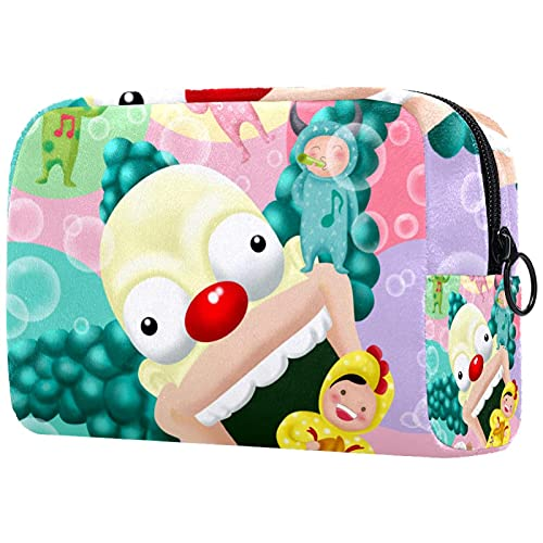 Bolsa de Maquillaje compacta Bolsas de cosméticos de Viaje portátiles para Mujeres niñas Neceser,Payaso Infantil