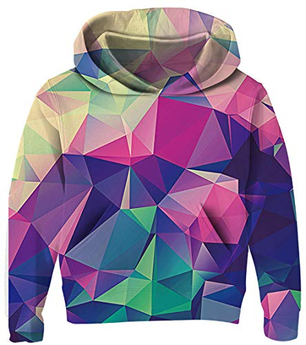 Kids Hoodies Girls Purple Sweatshirt Cool Blue Diamond Print Pullover for Boys 3D Print Lightweight Jacket Daily Party Costumes for Teens with Pocket 8-11T