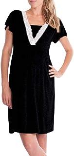 Vestido de Lactancia Maternidad de Noche, Ropa Embarazadas Vestido Enfermería Mujer Manga Corta Vestido Pijama Verano Encaje (Negro, S)
