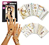 Metallic Temporary Tattoos - 10 SHEETS Over 200 Gold Silver Tattoos Pinky Petals