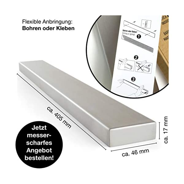 Moritz & Moritz Barra Magnetica para Cuchillos 40 cm - Cuchillero Magnetico - Universal - Acero Inoxidable Cuchillero…