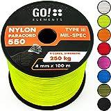 GO!elements 100m Paracord Seil aus reißfester Nylonschnur - 4mm Paracord 550 Typ III Schnur - geeignet als Allzweckseil & Reepschnur | Max. 250kg, Farbe:Neon