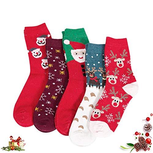 5Pcs Weihnachten Socken,Damen Winter Wollsocken,Socken Christmas,Cute Cartoon Wintersocken,Weihnachtssocken,Schneeflocke Socken,Weihnachten Baumwolle Socken,Geschenk Weihnachtssocken,Christmas Socks