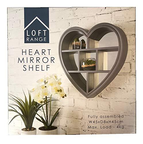 Estantería de pared con espejo en forma de corazón para decoración del hogar, color gris, 45 x 45 cm