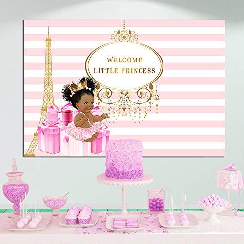 Royal Little Princess - Fondo de fotografía con diseño de lazo rosa para baby shower, diseño de corona dorada, torre Eiffel, color blanco y rosa