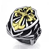 Elfasio Mens Boys Heavy Silver Fleur De Lis Gold Cross Knight Stainless Steel Biker Ring US Size 8