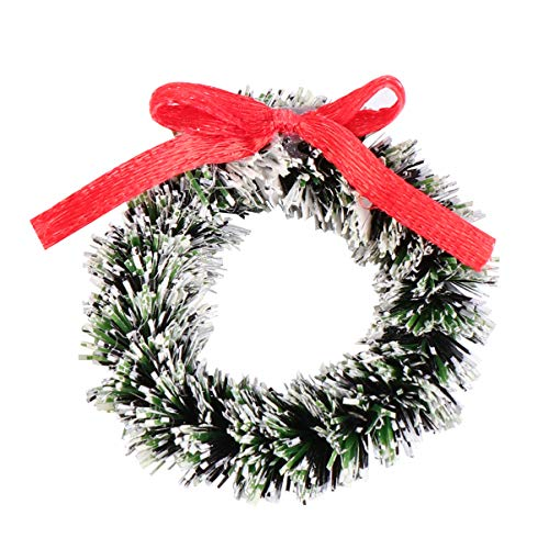 Wakauto Pack of 5 Mini Christmas Wreath with Bowknot Frosted Pine Wreath Winter Wreath Christmas Decorations Hanging Decoration for Christmas Card Craft Party Supplies